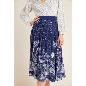 Anthropologie Haven Pleated Knit Midi Blue Skirt
